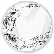 Girl With Laptop  Round Beach Towel