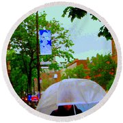 Girl With Large Umbrella Its Raining Its Pouring April Showers Montreal Scenes Carole Spandau Art Round Beach Towel
