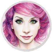 Girl With Magenta Hair Round Beach Towel
