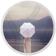 Girl With Parasol Round Beach Towel