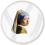 Girl With Pearl Earring Flip Side Round Beach Towel