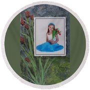 Girl With Tulips Round Beach Towel