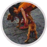 Girl With Two Dogs Round Beach Towel