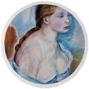 Girl With With Daisies Renoir Round Beach Towel