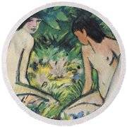 Girls In The Open Air Round Beach Towel by Otto Mueller or Muller