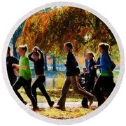 Girls Jogging On An Autumn Day Round Beach Towel