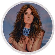 Gisele Bundchen Painting Round Beach Towel