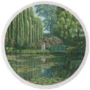 Giverny Reflections Round Beach Towel