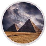 Giza Pyramids In Cairo Egypt Round Beach Towel