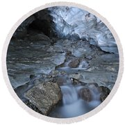 Glacial Creek Flowing From Blue Ice Round Beach Towel