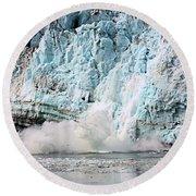 Glacier Calving Margerie Round Beach Towel