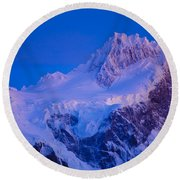 Glacier Covered Paine Grande, Chile Round Beach Towel
