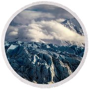 Glacier In The Clouds Round Beach Towel