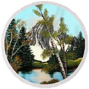 Glacier Peak After Bob Ross Round Beach Towel by Barbara Griffin