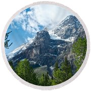 Glacier Seen From Kicking Horse Campground In Yoho Np-bc Round Beach Towel