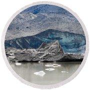 Glacier Tongue Calfing Icebergs Into Glacial Lake Round Beach Towel