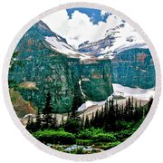 Glaciers Along Plain Of Six Glaciers Trail In Banff Np-alberta Round Beach Towel