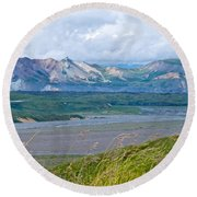 Glaciers And Mountains From Eielson Visitor's Center In Denali Np-ak  Round Beach Towel