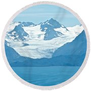 Glaciers In Kenai Range Over Kachemak Bay In Homer-ak- Round Beach Towel