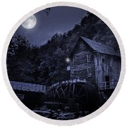 Glade Creek Grist Mill At Night Round Beach Towel
