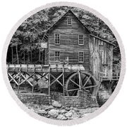 Glade Creek Grist Mill Bw Round Beach Towel