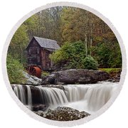 Glade Creek Waterfall Round Beach Towel by Marcia Colelli