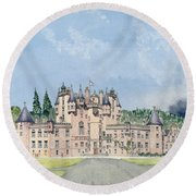 Glamis Castle Tayside  Round Beach Towel