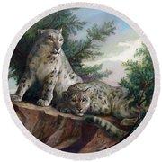 Glamorous Friendship- Snow Leopards Round Beach Towel