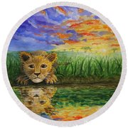 Glancing In The Water Round Beach Towel
