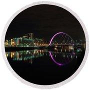 Glasgow Clyde Arc Bridge At Night Round Beach Towel