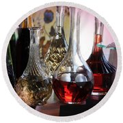 Glass Decanters And Glasses Round Beach Towel