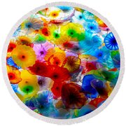 Glass Flowers Round Beach Towel
