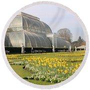 Glass House At Kew Gardens London Round Beach Towel