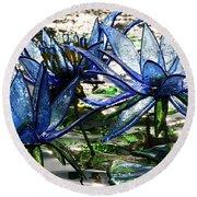 Glass Lilies Round Beach Towel