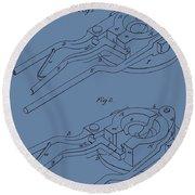 Glass Mold Patent On Blue Round Beach Towel