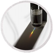 Glass Of Water And Spectrum Round Beach Towel