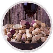 Glass Of Wine With Corks Round Beach Towel