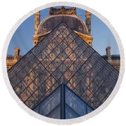 Glass Pyramid At Musee Du Louvre Round Beach Towel