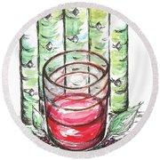 Glass Rosy Wine Round Beach Towel