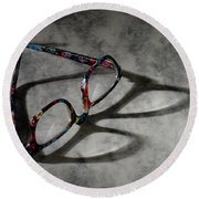 Glasses 1b Round Beach Towel