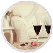 Glasses Of Red Wine Round Beach Towel