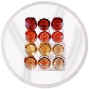 Glasses Of Rose Wine Round Beach Towel