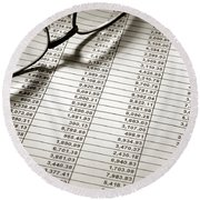 Glasses On Spreadsheet Round Beach Towel