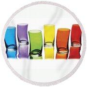 Glasses-rainbow Theme Round Beach Towel