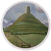 Glastonbury Tor Round Beach Towel