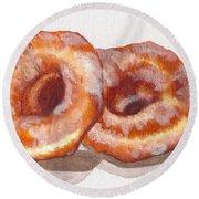 Glazed Donuts Round Beach Towel