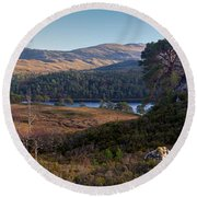 Glen Affric Panorama II Round Beach Towel