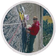 T-306607-glen Denny With Me On El Cap First Ascent 1962 Round Beach Towel