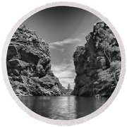 Glen Helen Gorge-outback Central Australia Black And White Round Beach Towel