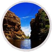 Glen Helen Gorge-outback Central Australia V2 Round Beach Towel
